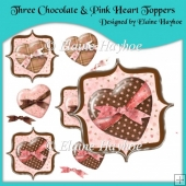 Three Chocolate & Pink Heart Toppers