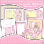 Precious Baby Girl Waterfall Card, Envelope & Backing Papers