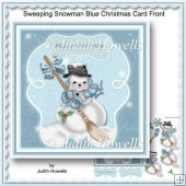 Sweeping Snowman Blue Christmas Card Front