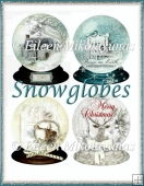 Christmas Scene Snow Globes Set Emebllishments, Toppers, Tags