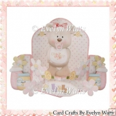 Baby Girl Bear Push n Pull Card Kit
