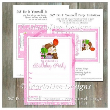Girly Girl Birthday Party Invitation 1 - Front and Back Included