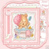 BATH TIME BABY GIRL 8x8 Decoupage & Insert Mini Kit