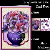 Pot of Roses and Lilies Card Front