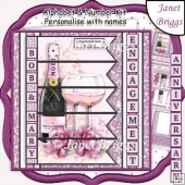 CHAMPAGNE 7.5 Alphabet Quick Anniversary or Engagement Card Kit