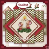 Mice and Candles triangle pop up card set