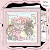 BUNNY & WHEELBARROW 7.5 Decoupage & Insert Mini Kit