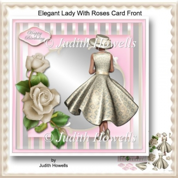 Elegant Lady With Roses Card Front
