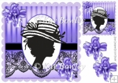vintage silhouette lady with purple flowers & black lace 8x8