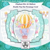 Elephant Hot Air Balloon Double Pop Out Pyramage Card & Envelope