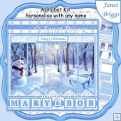 SNOWMAN IN PARK 7.5 Quick Card Kit Create Any Name