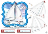 "Sailing Boat - Sail Away - 6"" x 6"" Card Topper & Decoupage"