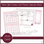 Follow Your Dreams Life Planner Calendar Sheets 2018-2019