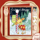 NORTH POLE DEER Christmas 7.8 Decoupage & Insert Kit