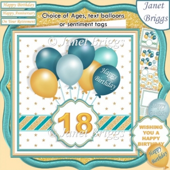TEAL & GOLD BIRTHDAY BALLOONS & AGES 7.5 Decoupage & Insert