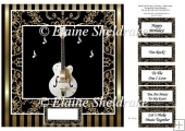 "White Guitar - 8"" x 8"" Card Topper"