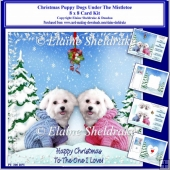 8x8 Christmas Puppy Under The Mistletoe Card Kit & Ass Greetings
