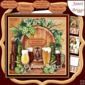 BEER BARREL 7.5 Birthday Father's Day Retirement Decoupage Kit