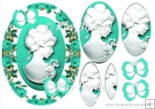 Pretty cameo lady with turq butterflies and roses oval pyramids