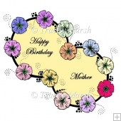 Happy Birthday Mother Double Floral Ring Clipart