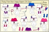 Plushy Polar Bear Happy Flappers CU Clipart