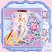 Artist's Canvas Painted Lady 7.5 Decoupage Kit