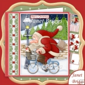Santa on his Bike 7.5 Christmas Decoupage & Insert Kit