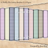 10 Shabby Chic Vintage Gingham 8 x 8 Papers