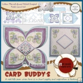 Lilac Floral Quad Petal Shaped Fold Card Kit