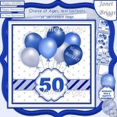 BLUE & SILVER BIRTHDAY BALLOONS & AGES 7.5 Decoupage & Insert