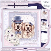 GOLDEN RETRIEVER COUPLE 7.5 Decoupage & Insert Card Kit