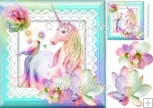 pretty unicorn on lace in turq rainbow frame 8x8