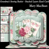 Grandma's Sewing Basket - Stacked Layers Easel Card