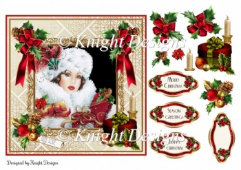 Art Deco Christmas Card Front With Decoupage