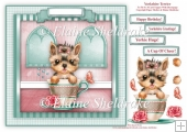 Yorkshire Terrier In A Teacup - Card Topper With Decoupage