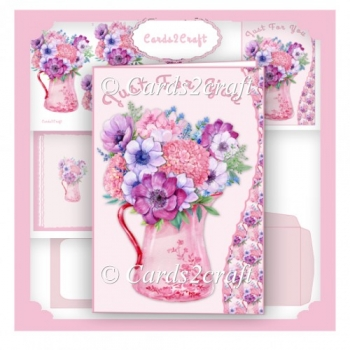 Wavy Edge Jug and flowers card set
