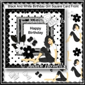 Black And White Birthday Girl Square Card Front
