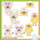 Bunnies and Chicks Tan Clip Art