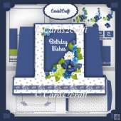 Frame pop out blue flower stepper card set