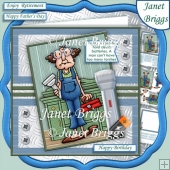 GUS & DEAD BATTERIES 7.5 Humorous Decoupage Card Kit