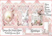 Cottage Chic Happy Easter Trifold Screen Card with Decoupage
