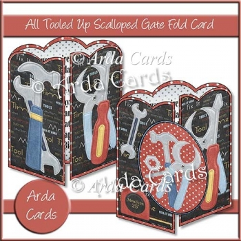 All Tooled Up Scalloped Gate Fold Card