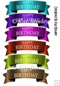 Mettalic Scroll white font Birthday Tags
