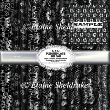 Black And White Pleated Lace Set One - 12 x 12 Backing Papers