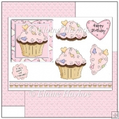 Pink Birthday Cupcake Decoupage