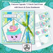 Unicorn Cupcake 7.5 Inch Card Front, Insert & Extra Sentiments