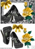 Black diamante shoes with gold rose A5