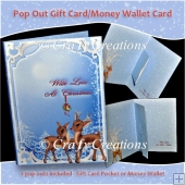 Reindeer Pop Out Gift Card/Money Wallet Card