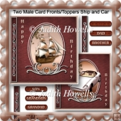 Two Male Card Fronts/Toppers Ship and Car