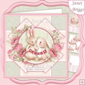 BUNNY BUNTING 7.5 Decoupage & Insert Kit All Occasions